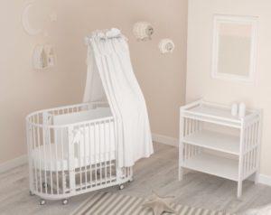 овальная детская кровать с балдахином